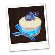 Dragées-Tétine bleue sur boite simili cuir
